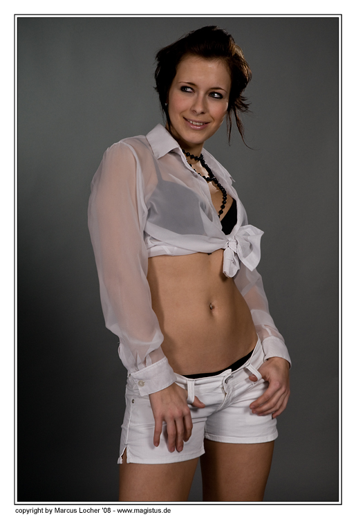 Smiling in White - Fashion / Dessous - Model Voluta - by Marcus Locher - all rights reserved!!