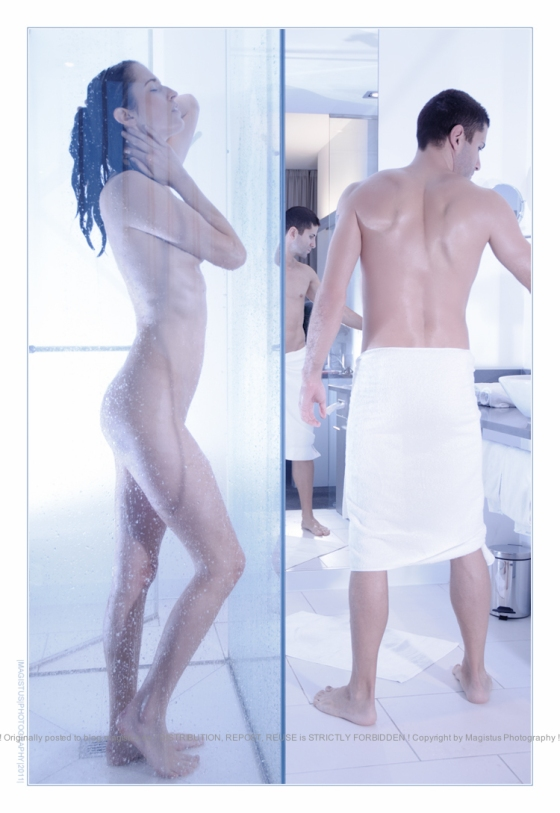 Modern Shower - Nude Art with two models showring in a modern bathroom - Photo © by Magistus