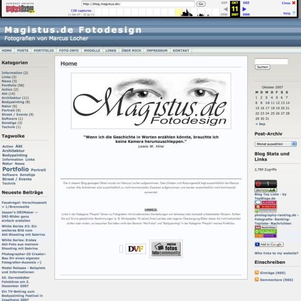WayBackMachine - so sah blog.magistus.de ganz am Anfang aus - Screenshot