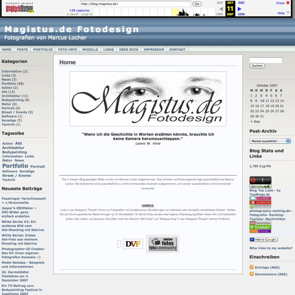 WayBackMachine - so sah blog.magistus.de ganz am Anfang aus - Screenshot