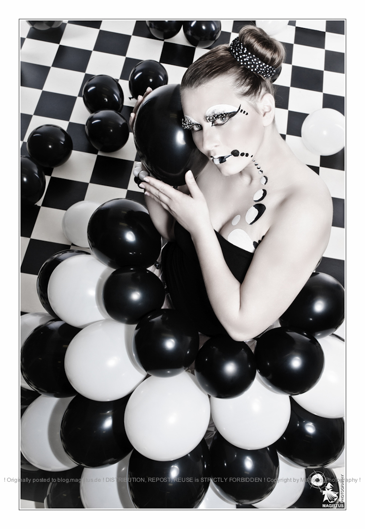 Balloons - Fantasy Fashion with Model dressed in Balloons posing with great black and white makeup - Photo © by Magistus