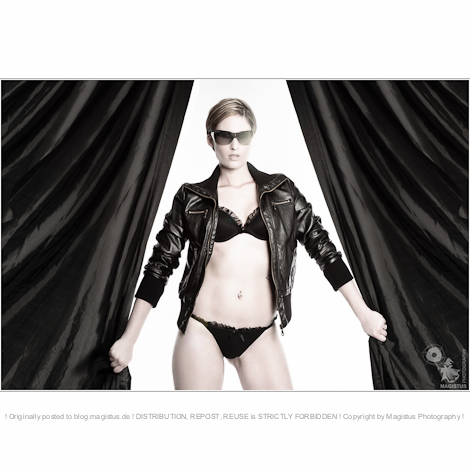 Tough Lingerie - Great Lingerie Shooting with beautiful and sexy model posing in black lingerie and black leather jacket with sunglasses - © by Magistus