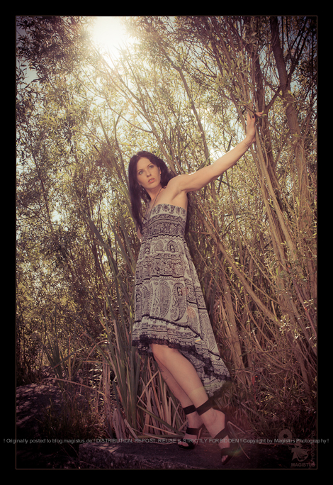 Jungle - Fashion Shooting in the Nature with a beautiful model posing in a jungle surrounding with the sun shining in the backgorund - © by Magistus