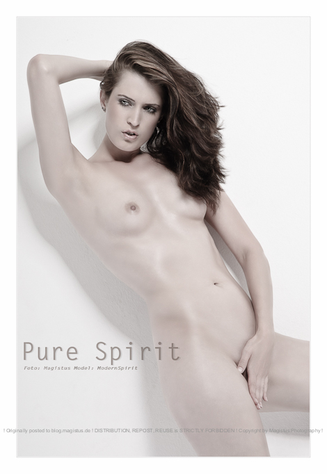 Pure Spirit - Classic Nude Art Photoshooting with beautiful model posing in front of a white wall - © by Magistus