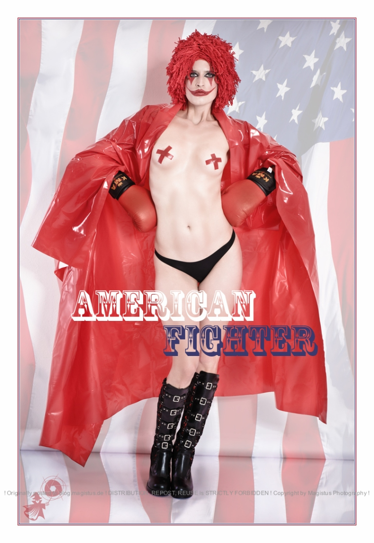 Amercan Fighter - Crazy, sexy and cool Fightergirl shooting with a sexy half naked model styled as clown and boxer with boobs only barely covered by red tape standing in front of an american flag. - © by Magistus