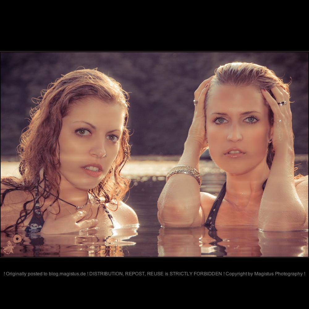 Water Beauties - Girl-Girl CloseUp Portrait with two beautiful models in a lake wearing bikinies - © by Magistus