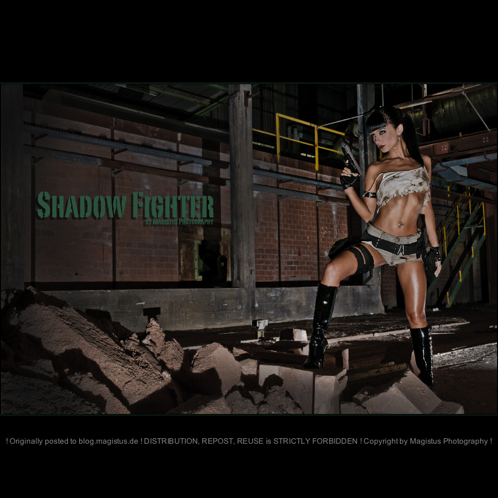 Shadow Fighter - Erotic OnLocation Girlfight Photoshooting with tough and sexy girl posing in a dark place with a gun wearing tight jeans Hot Pants and a tiny tank top.  - © by Magistus