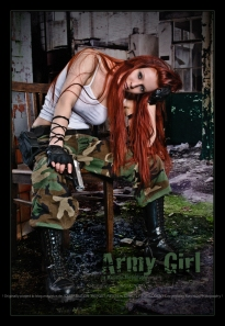 Army Girl - Sexy and Beautiful Fightergirl Composing with beautiful and busty redhead girl posing on a chair in a tank top and a gun in her hand wearing army pants sitting in a destroyed house. - © by Magistus