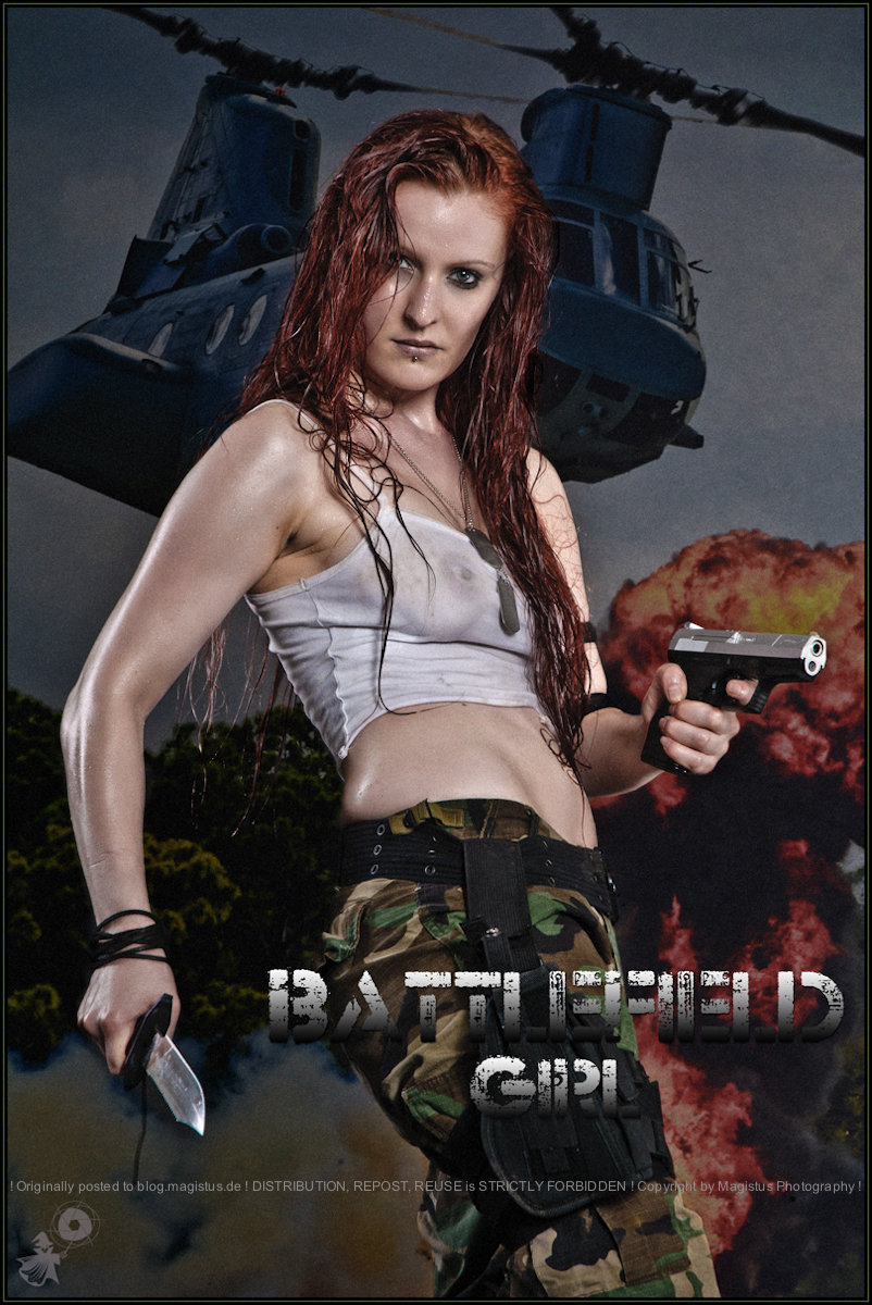 Battlefield Girl - Erotic Army-Style Shooting with super hot and sexy redhead girl posing tough with a gun in her hands wearing camouflage pants and a wet halt transparent tanktop showing off het beautiful boobs. - Artwork © by Magistus - Background-Image used in this artwork © icholakov - Fotolia.com