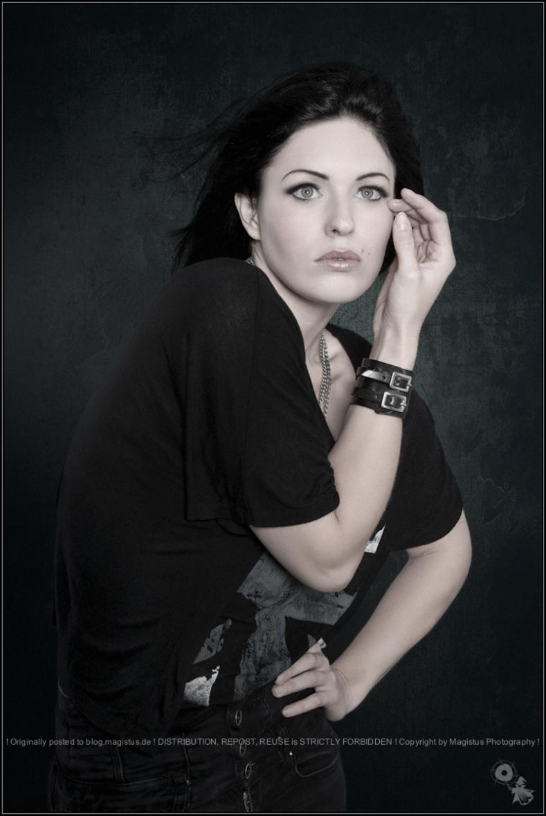 Beauty in Black - Fashion Portrait Shooting with beautiful model wearing black cloths posing fashion like. - © by Magistus