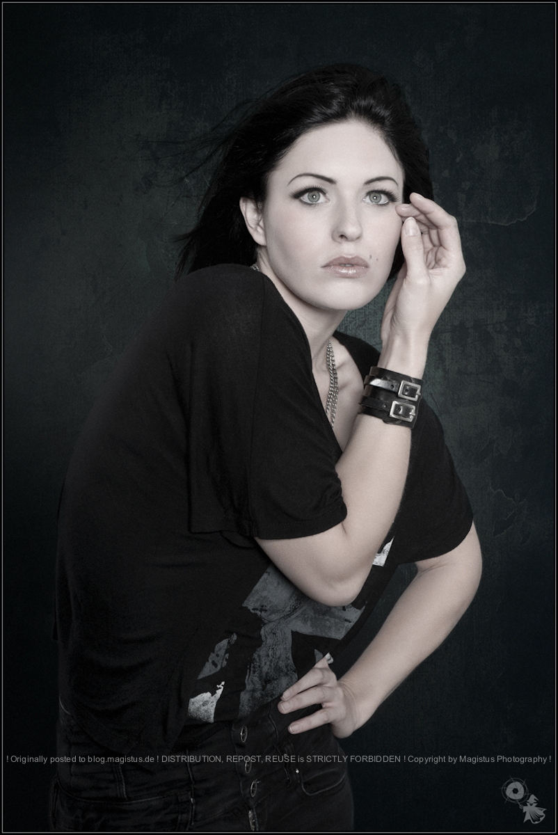 Beauty in Black - Fashion Portrait Shooting with beautiful model wearing black cloths posing fashion like. - © by Magistus