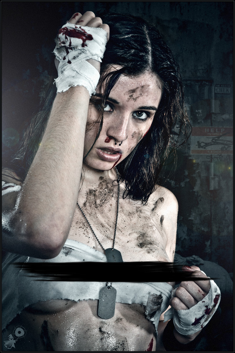 Fighting Girly - Erotic Dirtylook Portrait with a beautiful and sweet but also hot and sexy topless girl posing tough with blood in her face after a hard girlfight exposing her beautiful boobs all covered in dirt.- CENSORED © by Magistus