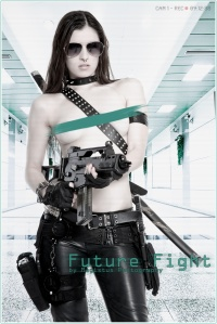 Future Fight - Erotic SciFi Fightergirl posing nude and topless with a machine gun in her hands wearing leather pants posing sexy in a futuristic surrounding - © by Magistus