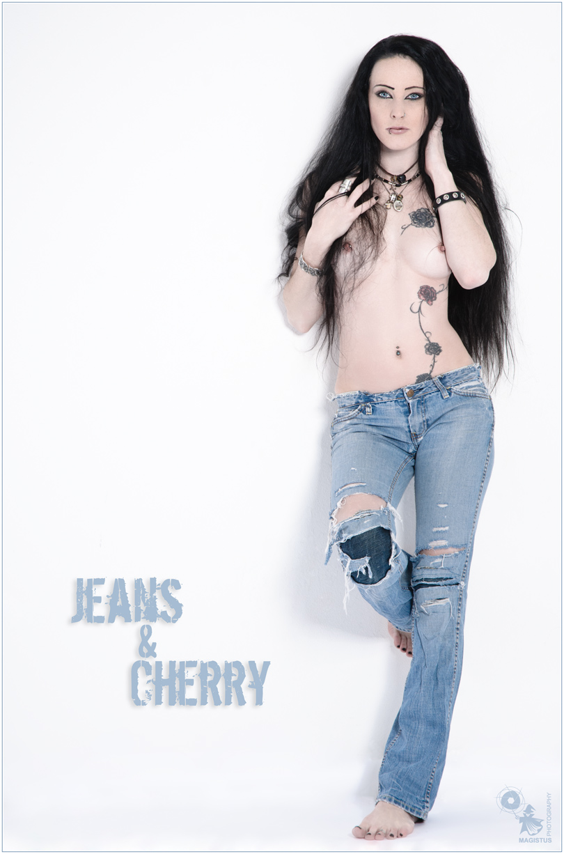 Jeans & Cherry - Sexy Nude Art Shooting with perfect model posing topless in vintage jeans showing her tattoo and beautiful boobs - © by Magistus
