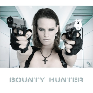 Bounty Hunter - Fightergirl Portrait Photo with super cool model holding two guns straight to the camera. - Artwork © by Magistus - Backround © marchcattle - Fotolia