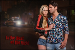 In the Heat of the Night - Sexy Retro Shooting with a sexy Girl in Jeans hotpantes and a tough guy. - Artwork © Magistus - Background © Immo Schiller - Fotolia.com