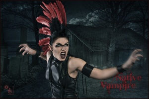 Native Vampire - Dark Vampire Composing with cool model posing as a vampire with a native america feather headdress in front of a dark cottage and graveyard. - © by Magistus