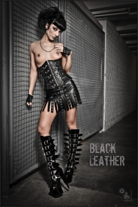 Black Leather - Super Sexy Leather Fetish Girl is posing OnLocation - © by Magistus