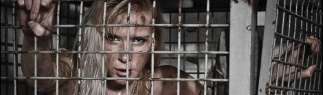 The Cage - Erotic Nude Art Photo with fantastic blonde naked model in a metal cage. - © by Magistus
