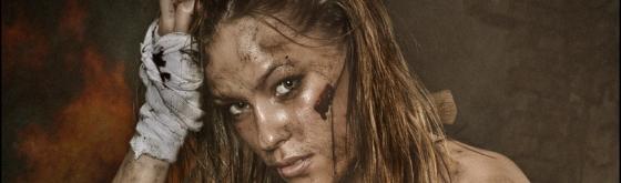 Battlefield Rest - Sexy Fightergirl Dirtylook Photoshoot - Composing © by Magistus - Background by BrownzArt http://brownzart.wordpress.com