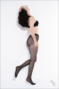 Lingerie: Easiness - Panthose Photoshoot with super model in black pantyhose and a black bra - © by Magistus