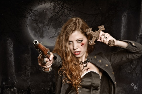Vampire Hunter - Fightergirl Composing with tough model posing with a gun and iron cross wearing a black corsage - Composing © by Magistus - Background by *E-dina - DeviantArt: http://fav.me/d4sb7q8