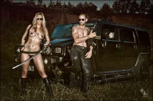 Hot Soldiers - Super sexy and hot Boy & Girl Fighter Shooting onLocation with a Hummer where the models posing topless and half naked with guns and swords. - © by Magistus