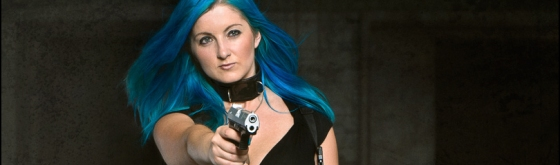 Fighting Lost Places - Sexy Fightergirl Composing with busty blue haired girl in a black corsage and leggings posing with a gun and a dagger in a dark floor. - Composing © by Magistus - Background by BrownzArt http://brownzart.wordpress.com