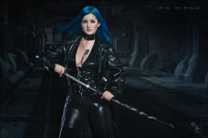 SciFi Fightergirl - Sexy Spaceship Fighter Composing with sexy and busty blue haired girl posing in tight leather clothes showing off a lot of cleavage posing with a samurai sword - Artwork © by Magistus - Background by BrownzArt http://brownzart.wordpress.com