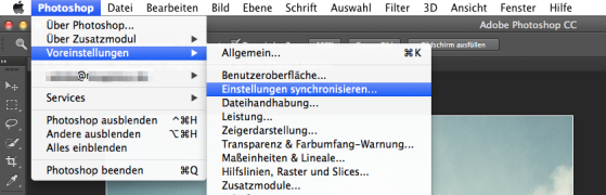 Photoshop CC - Synchronisation - Screenshot