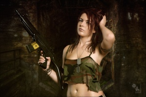 Sexy Gun - Hot Army Fightergirl Composing with beautiful girl in a sexy camouflage top with nipple pookies is posing with a machine gun - Artwork © by Magistus - Background Image © by Grischa Georgiew - Fotolia.com