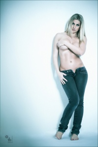 Sexy Jeans - Nude with fantastic busty blonde model posing topless in Jeans - © by Magistus