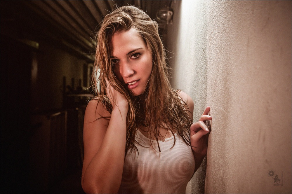 Wetlook Beauty - Sexy Available Light Portrait with beautiful model in half transparent seethrough wet t-shirt - © by Magistus