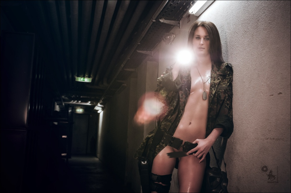 Exploring the Dark - Mega sexy Adventuress in a dark place holding a magnet in her hands posing half naked and bottomless showing her beautiful naked wet and shiny body - Photoshoot © by Magistus