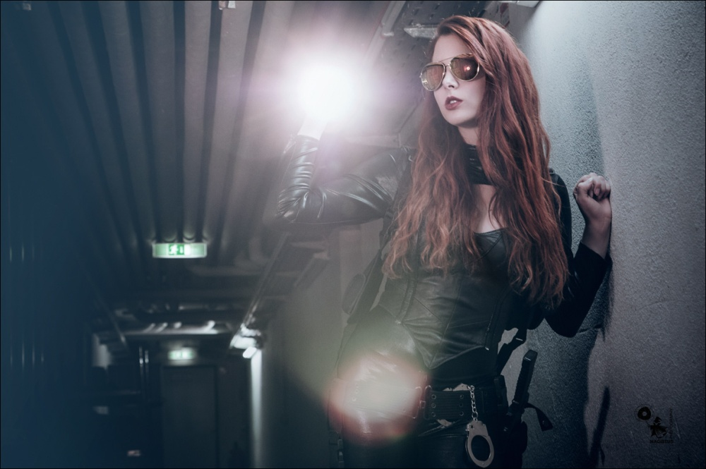 Fighter Babe - Super sexy redhead model is exploring the dark wearing a tight black dress and corsage - © by Magistus