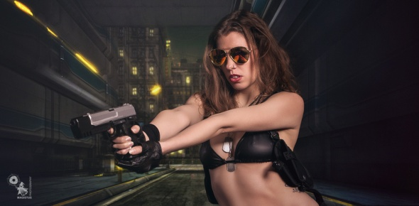 Future Cop Girl - Sexy Action Composing with hot bikini cop girl with gun in her hands - © by Magistus