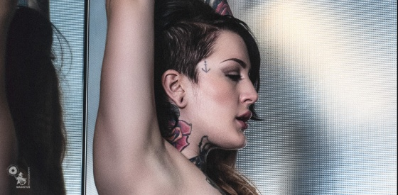 Topless Elevator Beauty - Super sexy Nude Photography with tattoo model Celina Blanchette - © by MagistusFoto