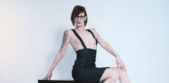 Sexy Secretary - Studio Photoshoot with topless Model posing in hot secretary styling - © by Magistus