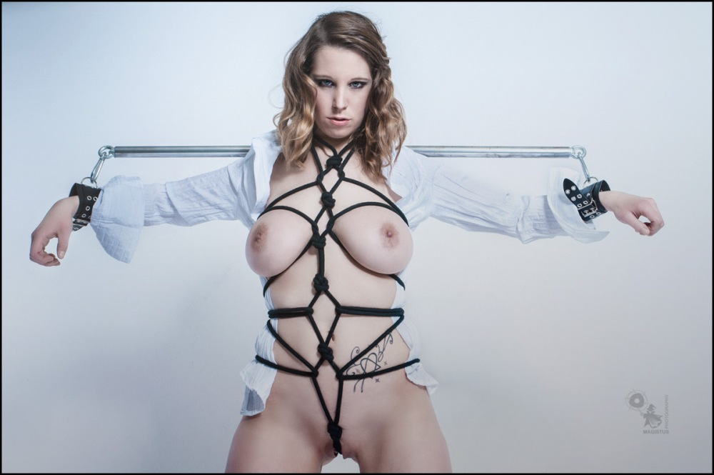 Busty N Bound - Hot Erotic Bondage Photo with naked model bound and presenting her big boobs - © by MagistusFoto