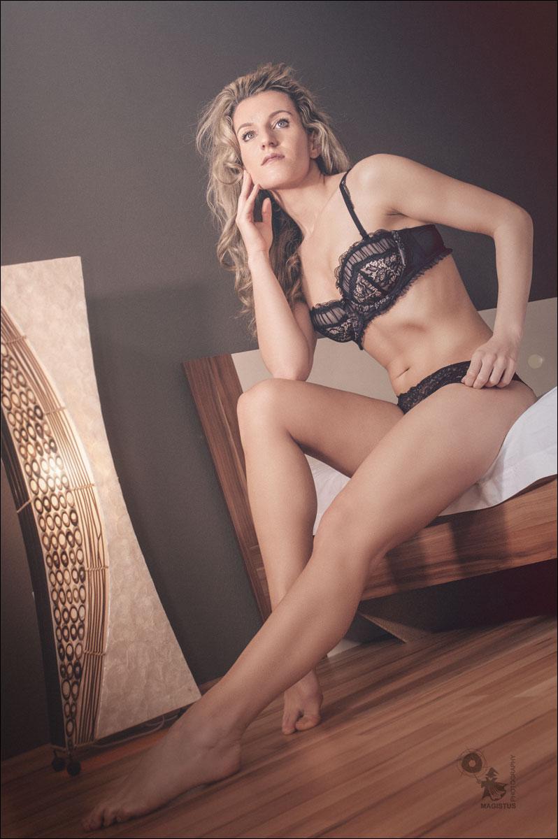 Black Lingerie Fashion - Fantastic blonde model in black Lingerie - © by MagistusFoto