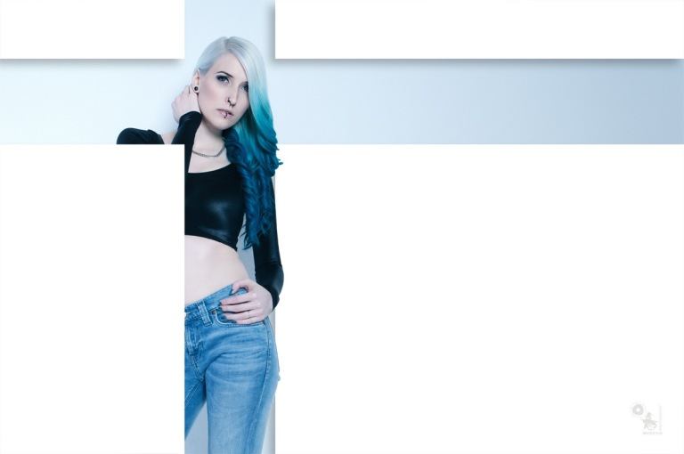 Blue Focused - sexy Jeans Fashion with blue haired model  - © by Magistus