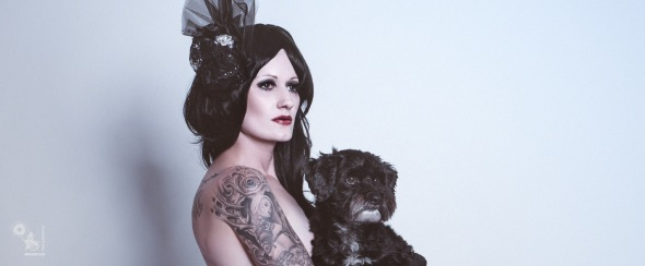 Black Lady & Dog - Dark Fashion Portrait - © by Magistus