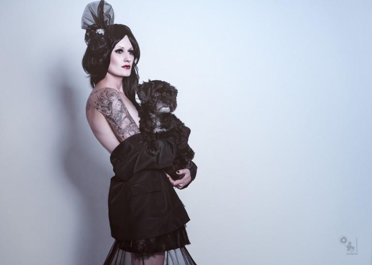 Black Lady & Dog - Dark Fashion Portrait - © by Magistus