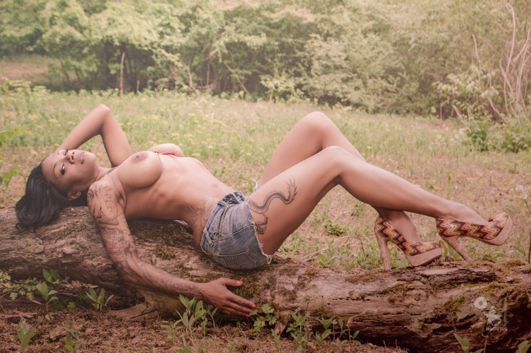 Topless Summer - Hot & Sexy Poison Ivy posing topless in jeans hotpants showing her naked big boobs in nature - © by Magistus