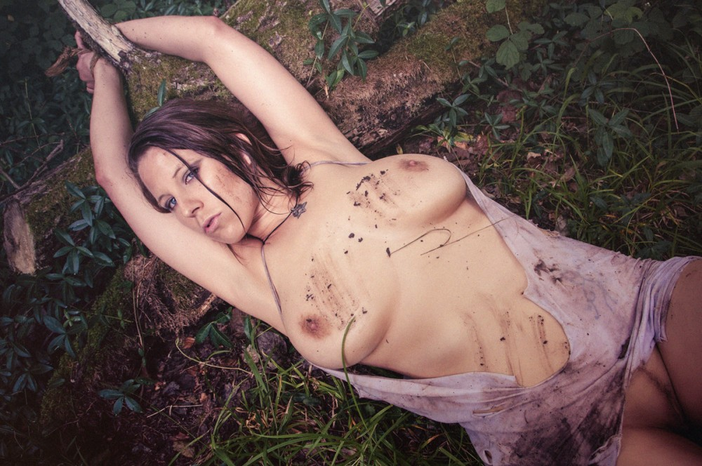 Caught in the Woods - Naked Busty Girl bound in the woods - © by Magistus