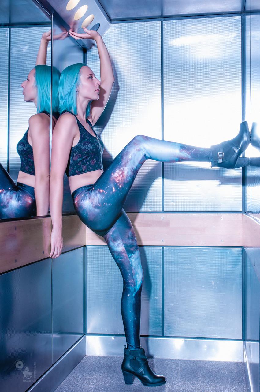 Galaxy - Cool Model in Galaxy Leggings posing in an Elevator - © by Magistus