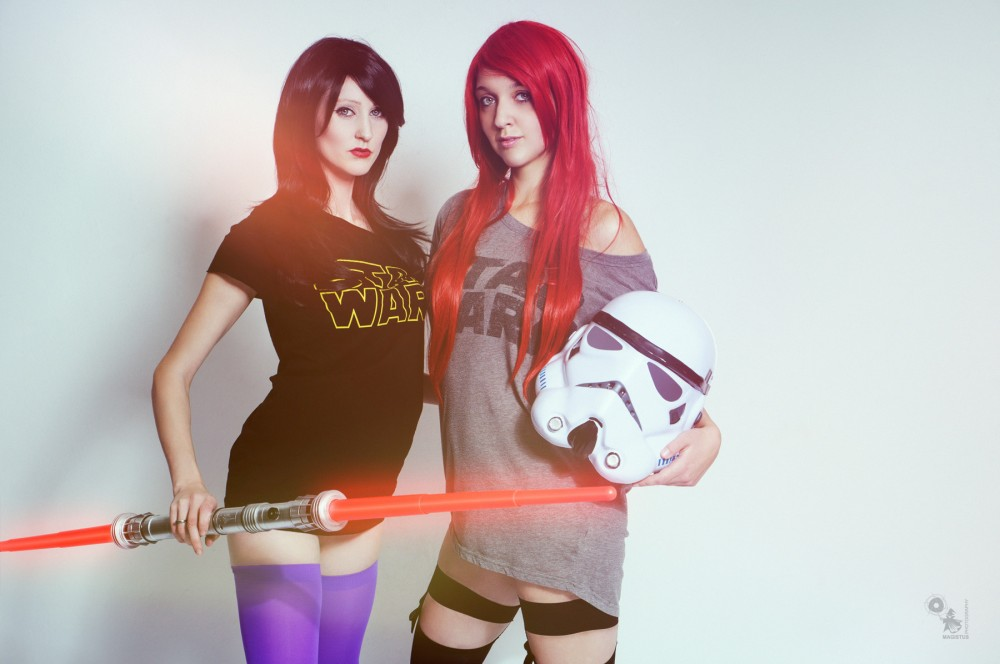 Nerdy Girl - Sexy Nerd Girls in Star Wars Shirts with Storm Troopers Helmet and Light Sword - © by Magistus