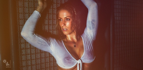 Hot Wet Dark - Super sexy and busty girl in jeans is posing in a dark place with water dripping down her wet body showing her big boobs through the wet t-shirt - © by Magistus