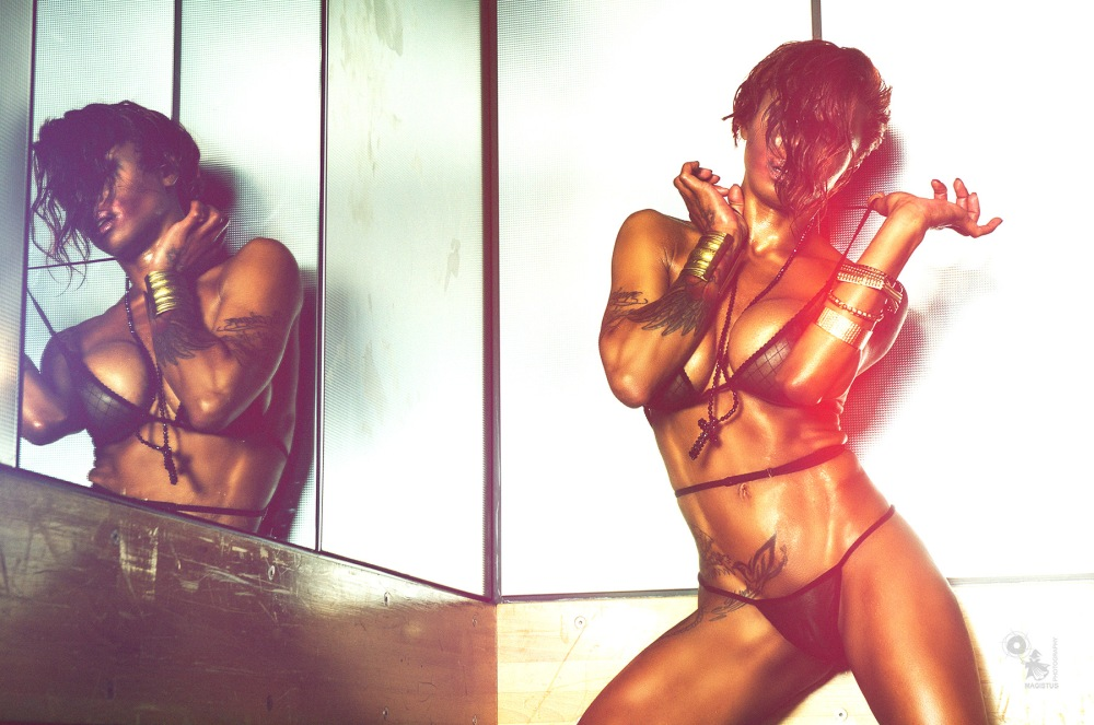 Erotic Light - Super hot and erotic performance by an awesome super sexy black model posing half naked in transparent lingerie edited with extreme light - © by Magistus