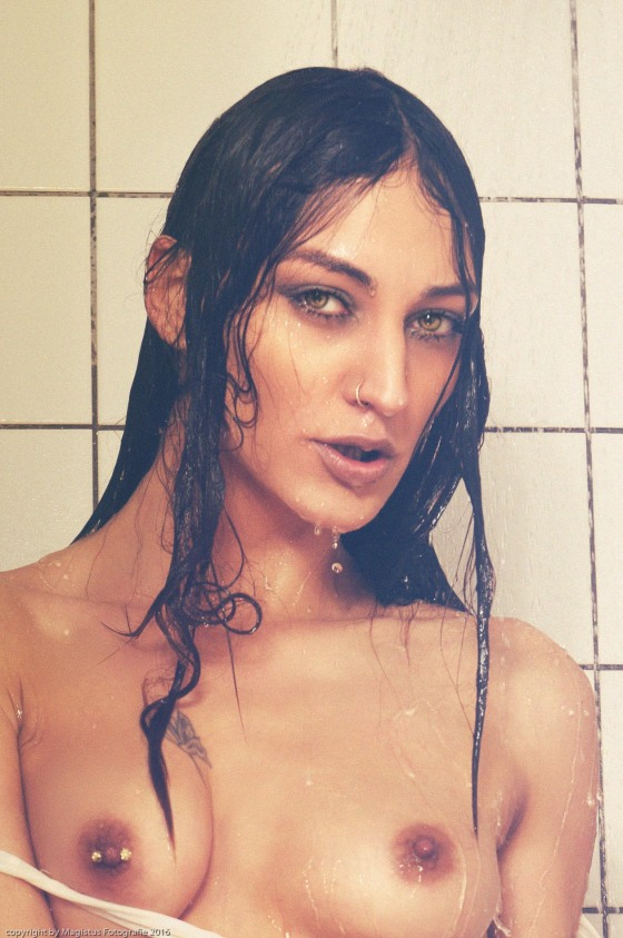 Hot Shower - Mega hot and sexy nude art photo with half naked model in the shower with water dropy all over her naked fantastic body. - Copyricht by Magistus